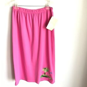 The Quacker Factory QVC Pink Maxi Skirt Embroider
